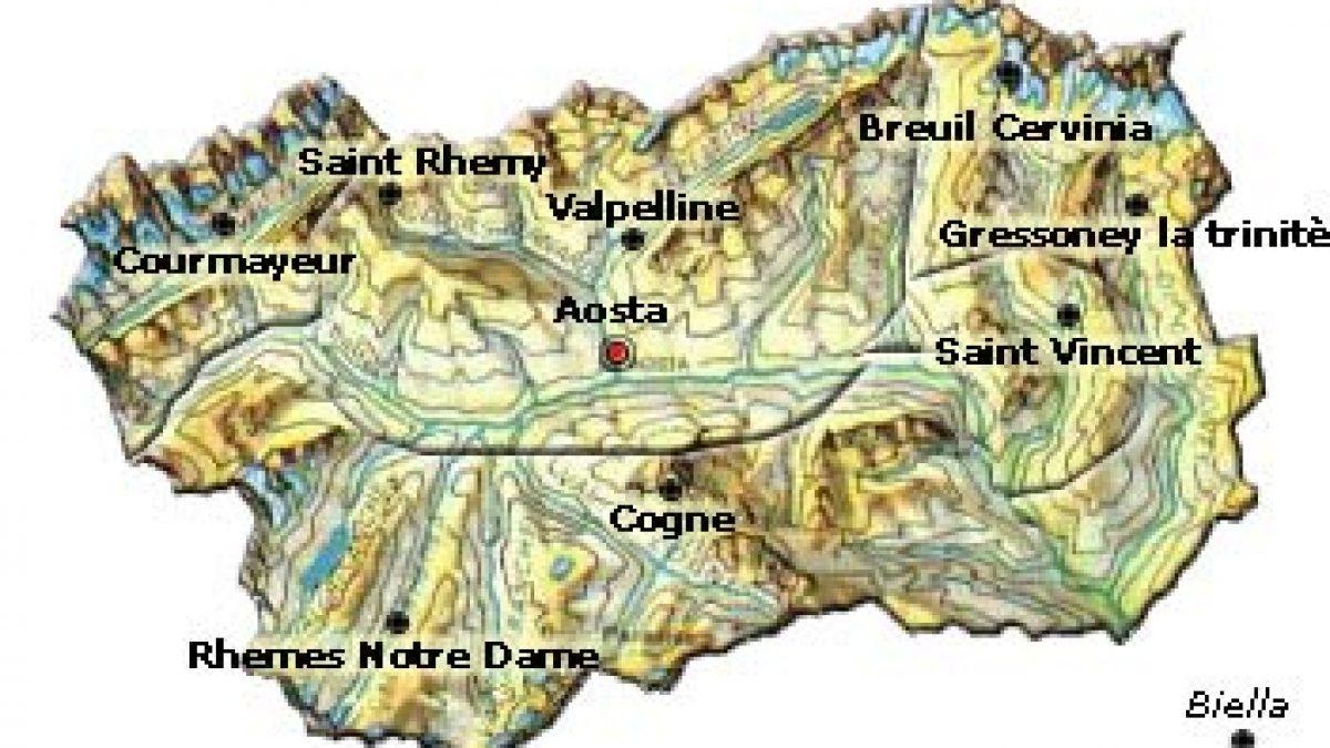 Cartina Geografica Fisica Della Valle D Aosta
