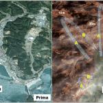 Devastante impatto (a destra) dell'acqua marina che ha invaso la città di Minamisanriku (a sinistra prima dell'evento). Il flusso di acqua e detriti è risalito fino a circa 50 metri di altezza (parte A delle frecce) per poi ritornare verso mare come un debris flow (parte B delle frecce).