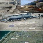 Ricostruzione del massimo run up (circa 8 m) raggiunto dall'acqua marina nell'aeroporto di Sendai. Il flusso dopo avere superato le dune costiere, alte 4-5 m, con un'altezza di circa 8-10 m ha inondato la pianura e l'aeroporto fino a 4-5 km di distanza dal mare