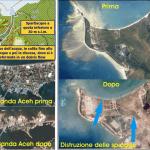Effetti dello tsunami di Sumatra simili a quelli riscontrati in Giappone. Figura a sinistra in alto è indicato il percorso dell'acqua che ha superato lo spartiacque tra il versante sud occidentale e quello nord occidentale nell'area abitata di Banda Aceh (Sumatra settentrionale). Al centro è rappresentata l'area costiera di Banda Aceh prima dello tsunami; in basso è riprodotta la stessa area dopo lo tsunami. Figura a destra: Effetti dello tsunami che ha completamente distrutto le spiagge costituite da sabbia bioclastica ed ha asportato il suolo.
