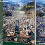 Il devastante impatto dello tsunami(al centro e a destra) nell'area urbana di Onagawa (a sinistra prima dell'evento). La città è ubicata su un istmo  a forma di dosso con uno spartiacque a quota di circa 24-25 m. Il flusso di acqua marina e detriti lo ha superato riversandosi rovinosamente lungo il versante opposto (parte A della freccia). Il flusso di acqua e detriti di ritorno (frecce B) ha completato la distruzione.
