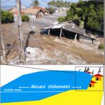 Schema tridimensionale dell'invasione dell'area emersa da parte dell'acqua costituente l'onda di tsunami, caratterizzata da una notevole larghezza ed enorme volume di acqua marina (in basso) ed esempio di quanto accaduto il 26 dicembre 2004 lungo le coste occidentali dello Sri Lanka (in alto).