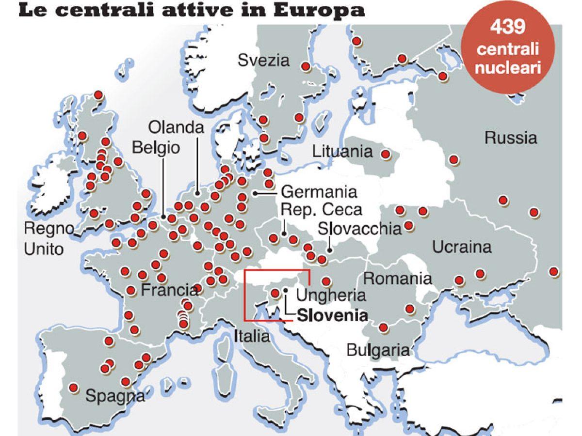 Cartina Centrali Nucleari Nel Mondo.Le Centrali Nucleari In Europa Sono 148 Ecco Dove L Italia E Circondata Meteoweb
