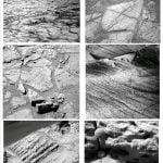 Figura 15. Immagini panoramiche (PANCAM) dei rovers da cui si nota il substrato delle dune: una formazione fittamente laminata (costituita da solfati di ferro), contenente tantissime piccole e curiose sferule di ematite (sesquiossido di Ferro, a cui si deve la colorazione rossastra di Marte). In basso a destra immagine dettagliata al microscopio (MI) della laminazione e delle sferule.