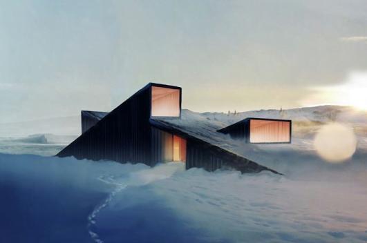 Mountain hill cabin la eco capanna che permette di sciare for Piani di progettazione tetto a capanna