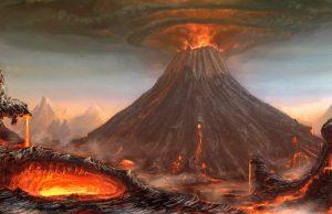 Raffigurazione di una grande eruzione vulcanica
