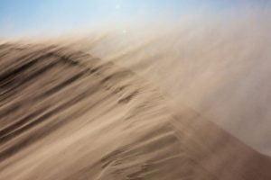 La sabbia sollevata dai forti venti orientali che spazzano il Sahara