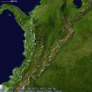 L'umida regione colombiana del Chacò vista dal satellite. Si nota il posizionamento della città di Lloro a ridosso della Cordigliera occidentale, rendendola una delle città più piovose della Terra