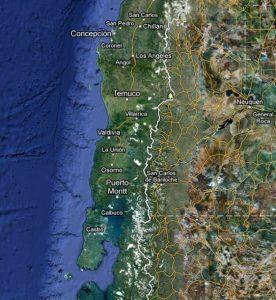 La costa del Cile maggiormente interessata dallo tsunami del 1960: da Concepcion all'isola di Chiloè, a sud. Da qui lo tsunami si propaga per l'intero Pacifico (da Google)