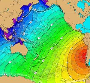 Lo tsunami del 1960 percorre l'intero Oceano Pacifico, dal Cile al Giappone. Lo schema mostra i tempi di percorrenza delle onde che impiegano circa 22 ore per arrivare sulle coste nipponiche. Lo tsunami provoca danni negli Stati Uniti, in Kamchatka, alle Hawaii e nelle Filippine. Si tratta dell'ultimo grande tsunami transoceanico in ordine cronologico nel Pacifico (da wikipedia)