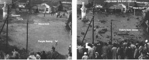 Lo tsunami del 1960 arriva ad Onagawa. L'allarme, lanciato con un certo preavviso, permette alle persone di rifugiarsi ai piani alti ed assistere all'invasione della loro cittadina da parte del mare (da Atwater et alii, 2005)