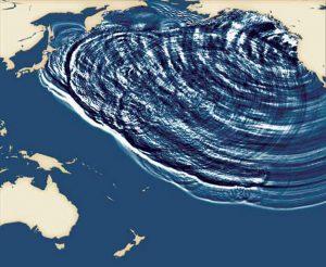 Figura 6. Il modello teorico, simulato al computer, dello tsunami del 1700. Partendo dalla Cascadia, le onde hanno attraversato l'intero Oceano Pacifico, giungendo sulle coste giapponesi nel giro di dirca 10 ore. Poi hanno proseguito la loro corsa fino a Papua Nuova Guinea ed Australia (da Atwater et alii, 2005)