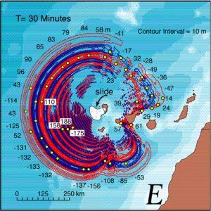 """L'animazione del """"mega tsunami"""" che dovrebbe attraversare l'Atlantico in caso di collasso della parete occidentale del Cumbre Vieja"""