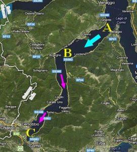 Il ramo occidentale del Lago di Como sarebbe stato interessato da due tsunami nel VI e XII secolo. Le frane sublacustri, originatrici delle onde anomale, si sarebbero sviluppate nella zona contrassegnata dalla A. La freccia celeste indica lo scivolamento dei sedimenti verso il fondo del lago (B). Le frecce fucsia il movimento delle onde che avrebbero raggiunto Como (C). Alcuni studiosi ritengono possibile il ripetersi del fenomeno in un prossimo futuro (da googlemaps, modificata)