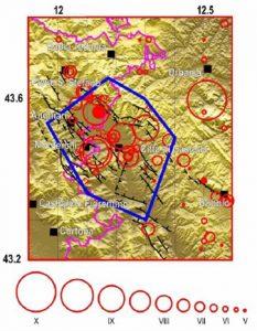 Figura 2. Sismicità storica della Val Tiberina. In nero i principali elementi tettonici. I cerchi rossi rappresentano i terremoti avvenuti dopo l'anno 1000: la loro grandezza è proporzionale all'intensità sulla scala MCS. Il poligono contornato in blu, al cui interno è presente Città di Castello, rappresenta l'area entro cui potrebbe in futuro svilupparsi un terremoto con intensità fino al IX-X grado scala MCS (da Mantovani ed alii, 2012)