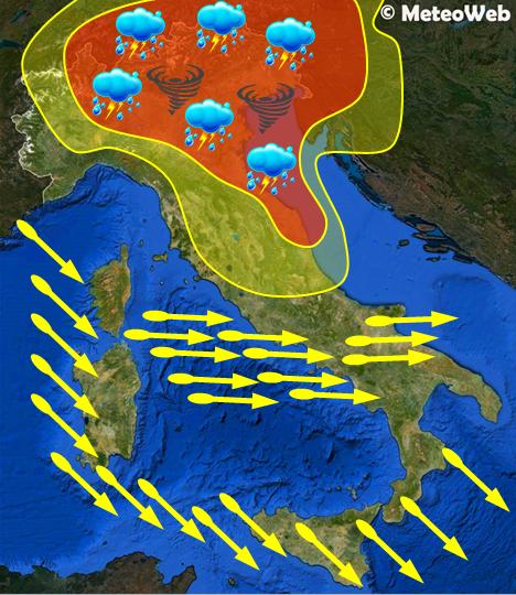 Allerta Meteo sull'Italia tra stasera e domani, lunedì 24 giugno
