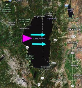 Tra 7mila e 15mila anni fa il Lake Tahoe fu teatro di una grande catastrofe. Nella zona della McKinney Bay, contrassegnata dal triangolo fucsia, si sviluppò un'enorme frana, forse a seguito di un forte terremoto, che provocò enormi ondate verso la costa orientale del bacino. Le frecce celesti indicano la direzione principale delle onde la cui altezza massima è stimata in diverse decine di metri (da googlemaps, modificata)