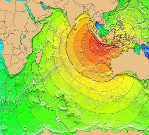 I tempi di arrivo delle onde generate dall'eruzione nell'Oceano Indiano. Lo tsunami raggiunge Ceylon nel giro di cinque ore, la Penisola Arabica in circa 10 ore: ma i run-up sono comunque limitati e i danni poco consistenti. Le onde viaggiano molto più lentamente verso oriente: impiegano circa due ore e mezzo per arrivare a Djakarta (da NOAA e Wikipedia)