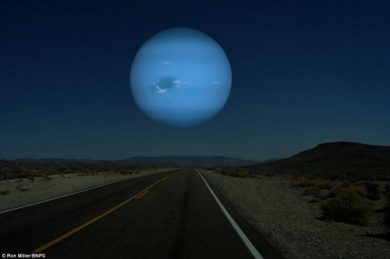 Come apparirebbe Nettuno se fosse distante quanto la Luna
