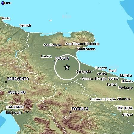 Scossa di terremoto di magnitudo 2 7 a cerignola foggia - Il tavoliere delle puglie ...