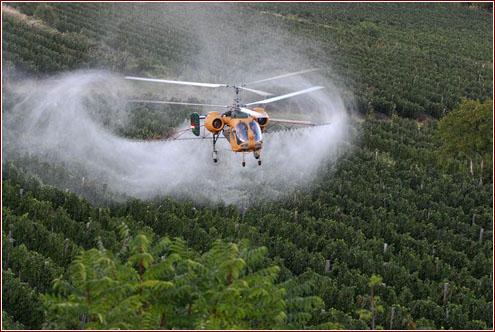 pesticidi in elicottero