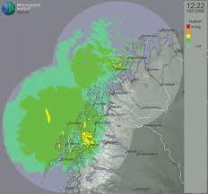 Nuclei convettivi verso la costa norvegese ripresi dal radar