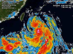 """La tropical storm """"Leepi"""" osservata poche ore fa dalle immagini satellitari"""
