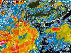 La tropical depression che punta il Vietnam settentrionale