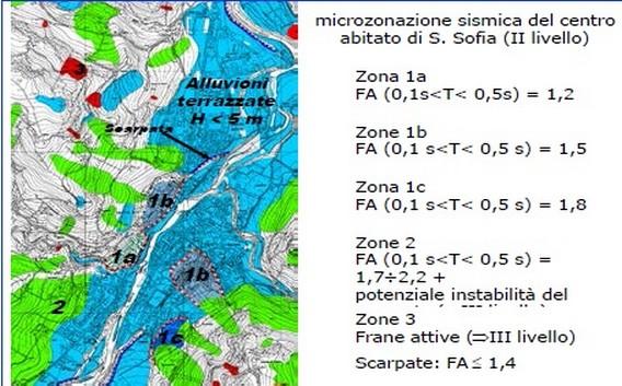 """Un esempio di """"carta delle microzone"""". A colori diversi corrispondono diversi gradi di rischio. In questo modo ogni Comune può avere un eccellente strumento urbanistico per pianificare lo sviluppo edilizio in funzione del rischio sismico (da Crespellani)"""