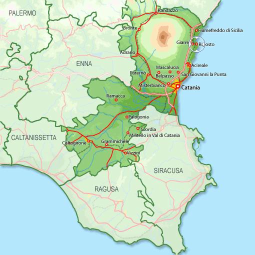 La costa orientale della Sicilia. In evidenza il comune di Riposto