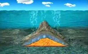 Rappresentazione di un vulcano sottomarino