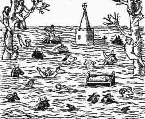 L'inondazione del 1607 nel Canale di Bristol in un'antica stampa coeva all'evento. Tutto viene trascinato via dalle onde: case, persone, animali. Molti si rifugiano sugli alberi o sui tetti degli edifici più robusti. Sembra quasi di rivedere le immagini televisive degli ultimi tsunami asiatici