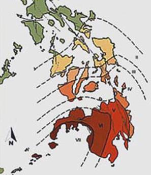 Le intensità del terremoto che nel 1976 si sviluppa nel Golfo di Moro e colpisce con violenza la costa meridionale dell'isola di Mindanao. I numeri romani rappresentano il grado di intensità della scala MCS (da http://www.phivolcs.dost.gov.ph/html/update_SOEPD/2012_Earthquake_Bulletins/Destructive_Earthquake/1976MoroGulfEQ/index-moro.html)