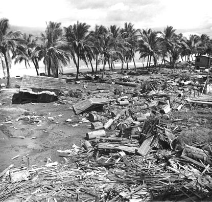 La distruzione lasciata dallo tsunami del 1976 sulle coste di Mindanao. Molti villaggi di pescatori, con costruzioni di legno e palafitte, vennero devastati (da Wikipedia)