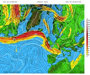 """Il """"getto polare"""" torna nuovamente ad intensificarsi sopra l'Atlantico settentrionale, segno di una ripresa del flusso zonale"""