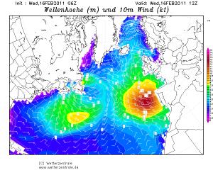 Tempesta a largo delle coste atlantiche portoghesi e spagnole