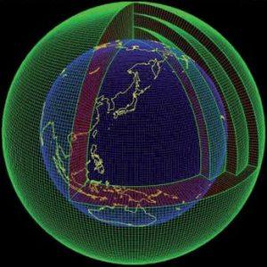 Esempio di grigliato tridimensionale nel quale viene suddivisa l'intera Terra
