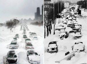 Fig.2 - Gli effetti del blizzard che colpì Chicago il 26 Gennaio 1967