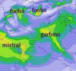 Fig.3 - Localizzazione geografica del Garbino, del Maestrale e del Foehn