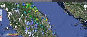 Fig.3 - Valori pluviometrici raggiunti a partire dalla mezzanotte di oggi sull'Italia Centrale