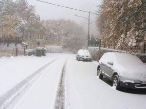Piano Battaglia (PA) oggi con la prima neve sui rilievi siciliani