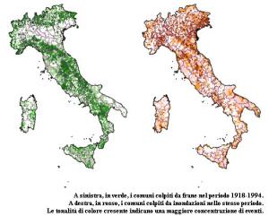 Fig.2 - A sinistra, in verde, i comuni colpiti da frane nel periodo 1918-1994. A destra, in rosso, i comuni colpiti da inondazioni nello stesso periodo. La tonalità di colore crescente indica una maggiore concentrazione di eventi