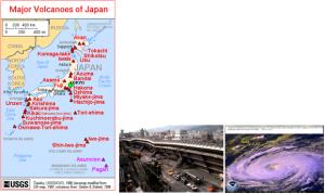 Fig.11 - Cartina sui principali vulcani attivi in giappone (a sinistra); effetti del terremoto di Kobe (al centro); un tifone in prossimità del Giappone (a destra)