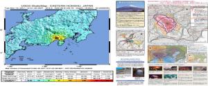 Fig.7 - Epicentro della scossa di terremoto del 15 Marzo 2011 (a sinistra); piano di gestione delle catastrofi (a destra)