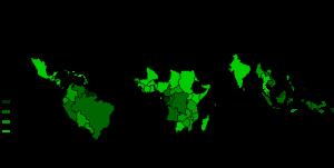 Distribuzione globale delle foreste tropicali; i numeri indicano in percentuale l'area coperta rispetto al totale di ciascuno Stato