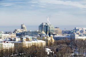 Il centro di Kiev dopo una nevicata invernale