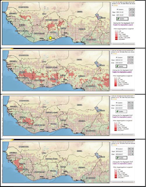 Fig.4 - Sequenza che mostra lo spostamento verso Sud ed il successivo diradamento degli incendi delle savane boreali durante la stagione secca, da Novembre (in alto) ad Aprile (in basso), (NASA)