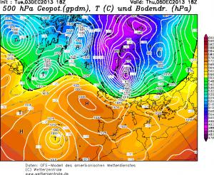 Il fitto addensamento di isobare fra mar del Nord, Olanda e Danimarca all'origine della violenta tempesta artica che domani spazzerà gran parte dell'Europa centro-settentrionale