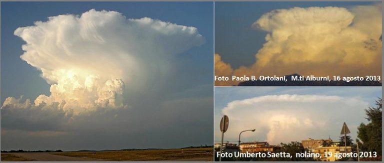 Figura 1: Cumulonembi ad incudine: nubi imponenti che raggiungono i limiti della troposfera