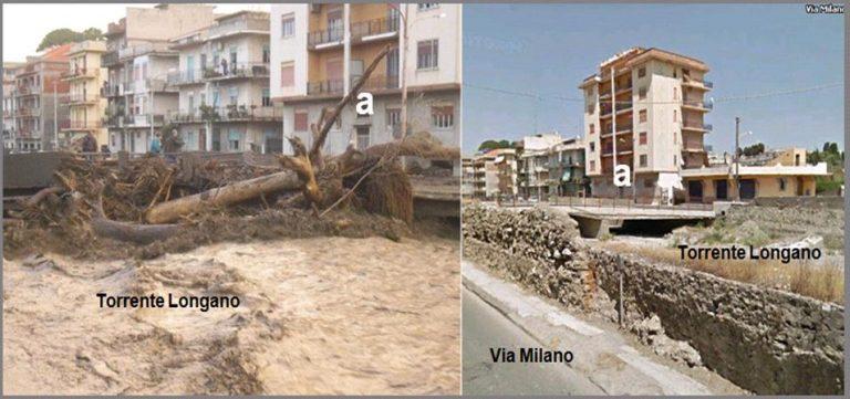 Figura 11: effetti dell'onda di piena riversatasi lungo il Torrente Longano all'interno dell'abitato di Barcellona Pozzo di Gotto. Sono evidenti gli sbarramenti al deflusso creati dai tronchi d'albero d'alto fusto.